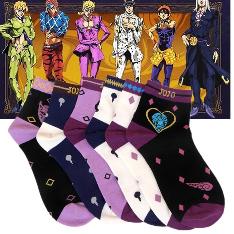 Anime JoJo's Bizarre Adventure Bruno Bucciarati Kira Yoshikage Socks Embroider Cartoon Ankle Socks Creative Sock