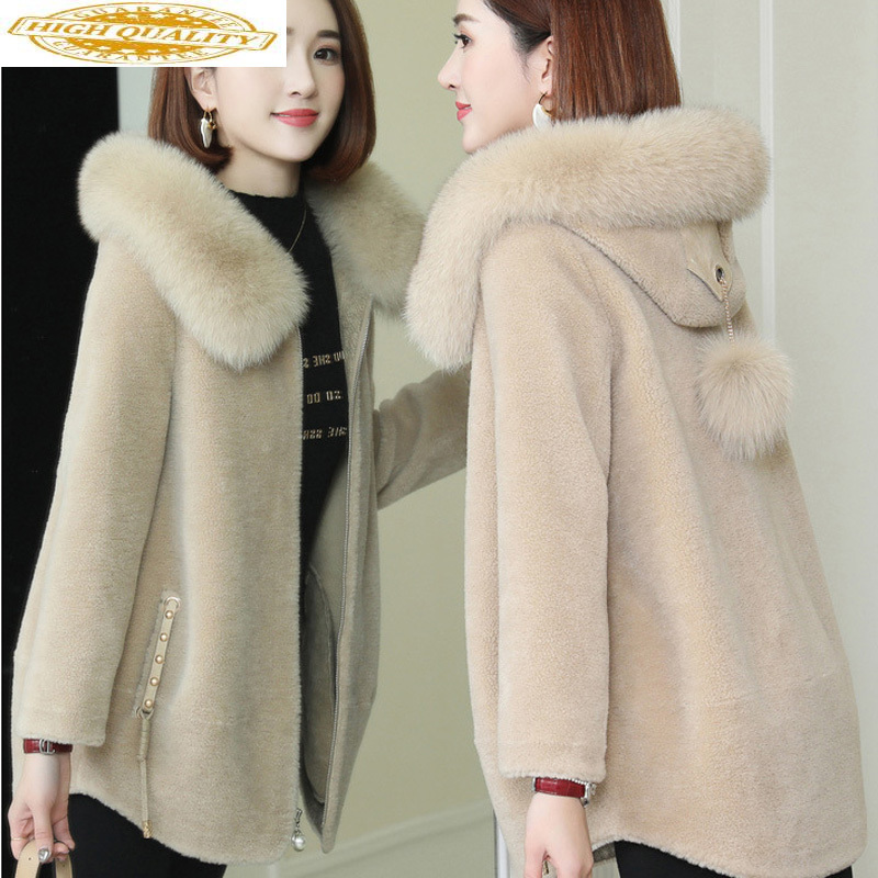 Real Fur Coat Women Autumn Winter 100% Wool Jacket Sheep Shearing Fur Coats And Jackets Fox Fur Hooded 19509 KJ3708