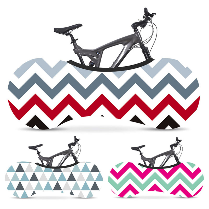 Geometric Pattern Bicycle Protective Cover Universal Bike Wheels Elastic Dustproof Cover Indoor Mountain Bike Anti-scratch Cover