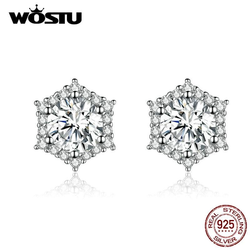 WOSTU 925 Sterling Silver Earrings Simple Shining Zircon Stud Earrings For Women Makeup More Charming Fashion Jewelry CQE723