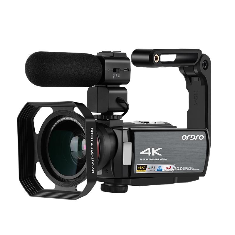 Kameralar Video kamera 4K profesyonel Blogger, ordro AE8 IR gece görüş WiFi Filmadora Full HD dijital kameralar YouTuber
