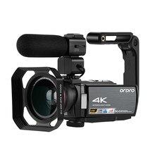 Câmera de vídeo 4k profissional para blogger, ordro ae8 ir visão noturna câmera wifi filmadora hd completo câmeras digitais youtuber