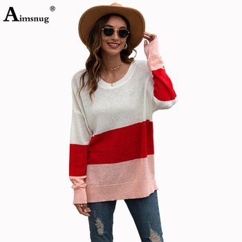 2020 Knitted Sweater Ladies Elegant Patchwork Colors Long Sleeve Round Neck Sweater Summer Autumn Casual Women Sweater Pullovers цена 2017