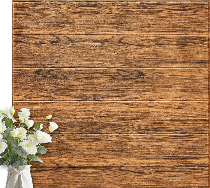 Image 5 - 4pcs 3D Foam Wall Sticker Pastoral Style Home Self Adhered Woody Sticker Waterproof Moisture Proof High Quality Wall Paper 70cmWallpapers   -