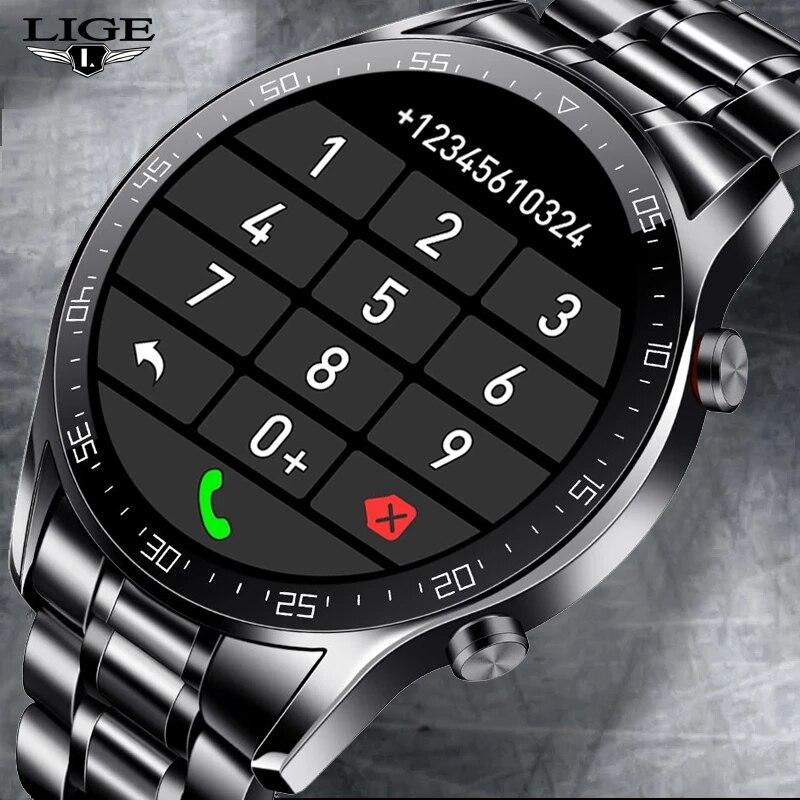 LIGE 2021 New Bluetooth Call watch Smart watch Men Full Touch fitness tracker Blood pressure Smart Clock Men Smart watch +Box