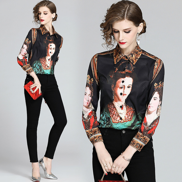 Runway Character Oil Painting Print Long Dress Women's Lantern Long Sleeve Turn Down Collar Empire Vintage Party Holiday Dress