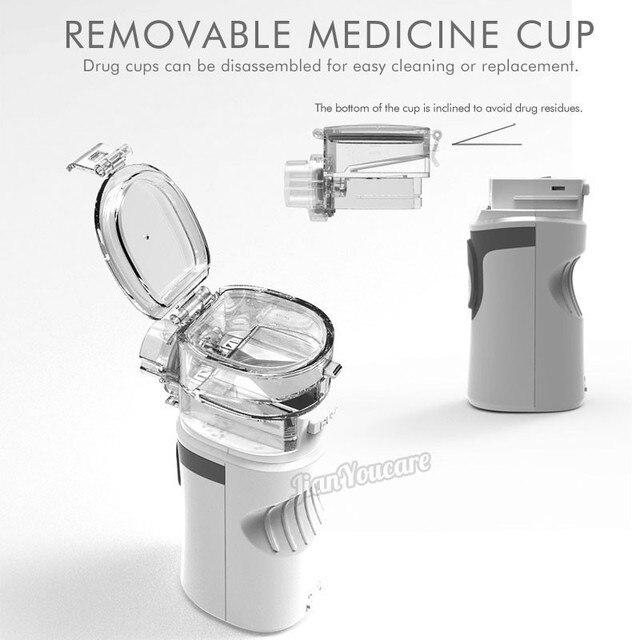Mini Handheld portable autoclean Inhale Nebulizer Mesh atomizer silent inhaler nebuliser inhalator for kids nebulizador portatil 3