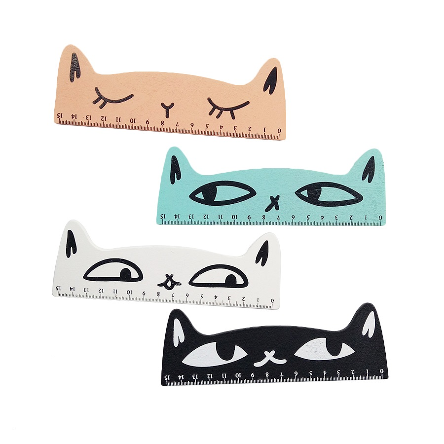 1 Pcs/lot Kawaii Combative Cat Fruit 15cm Cat Ruler Wooden Cartoon Straight Rule Children Stationery Gift School Supplies