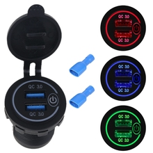 Waterproof 12V 24V Dual QC3.0 USB Car Charger Adapter with On/Off Touch Switch LED Light for Mobile Phone GPS Truck SUV Boat Bus