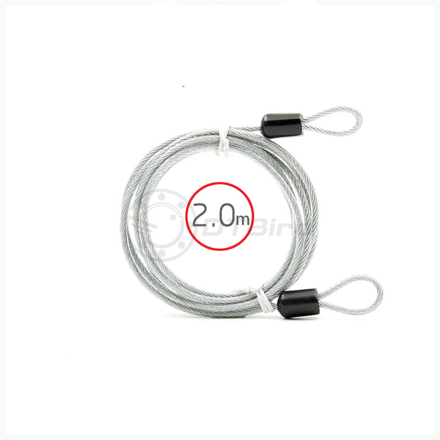 2Meters Security Double Loop Cable Strong Braided Steel For Bike Chain LocODUS