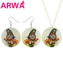 ARWA Acrylic Round Flower Monarch Butterfly Jewelry Sets Long Lovely Animal Earrings Necklace For Women Kid Girls Birthday Gifts(China)