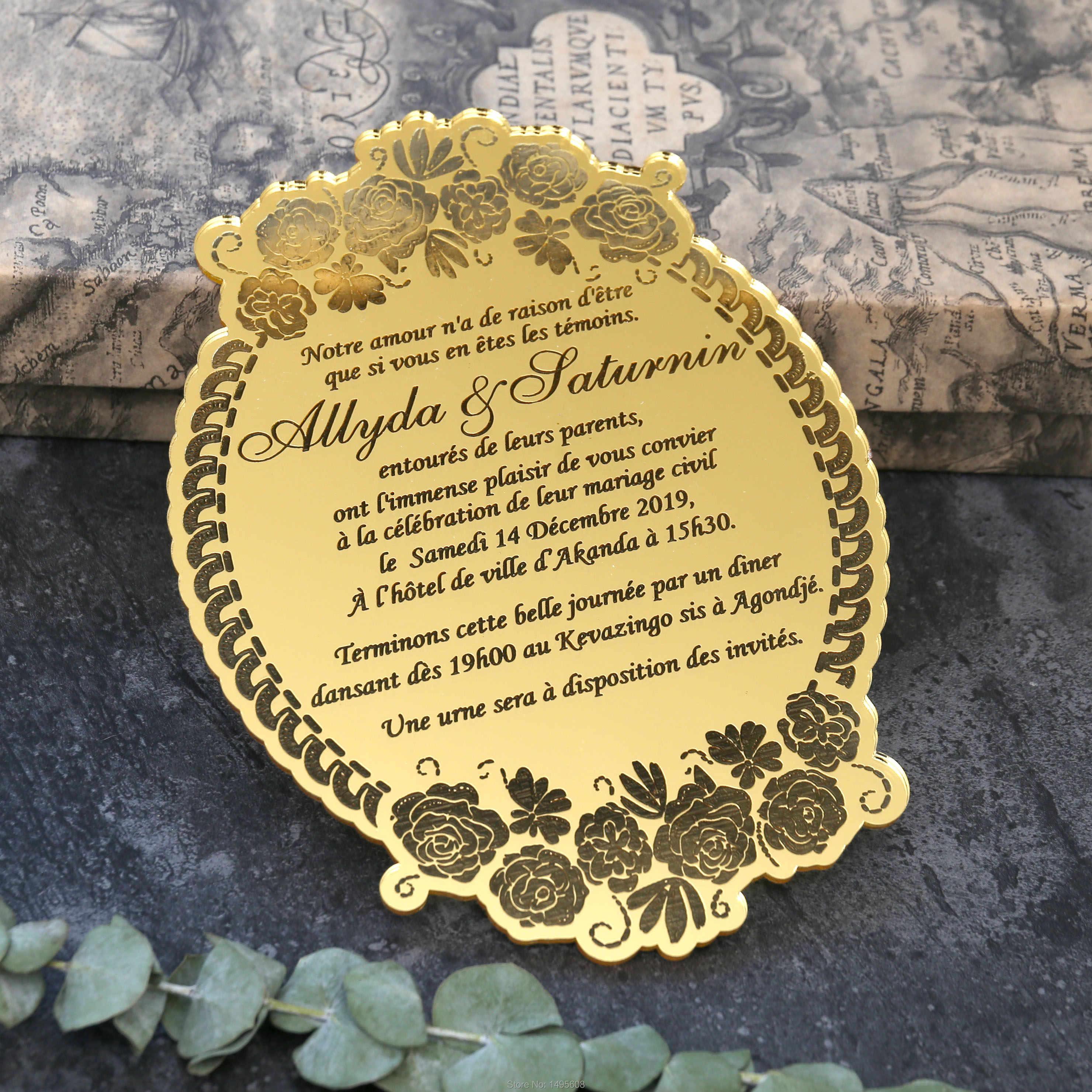 Tarjetas De Invitación De Acrílico De Boda Floral Espejo