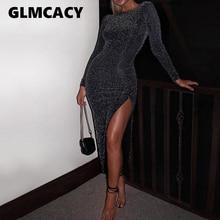 Women Glitter Long Maxi Dress Side Slit Long Sleeve Bodycon Dresses Sexy Party Dress Night Out Clubwear Vestidos Spring Fall