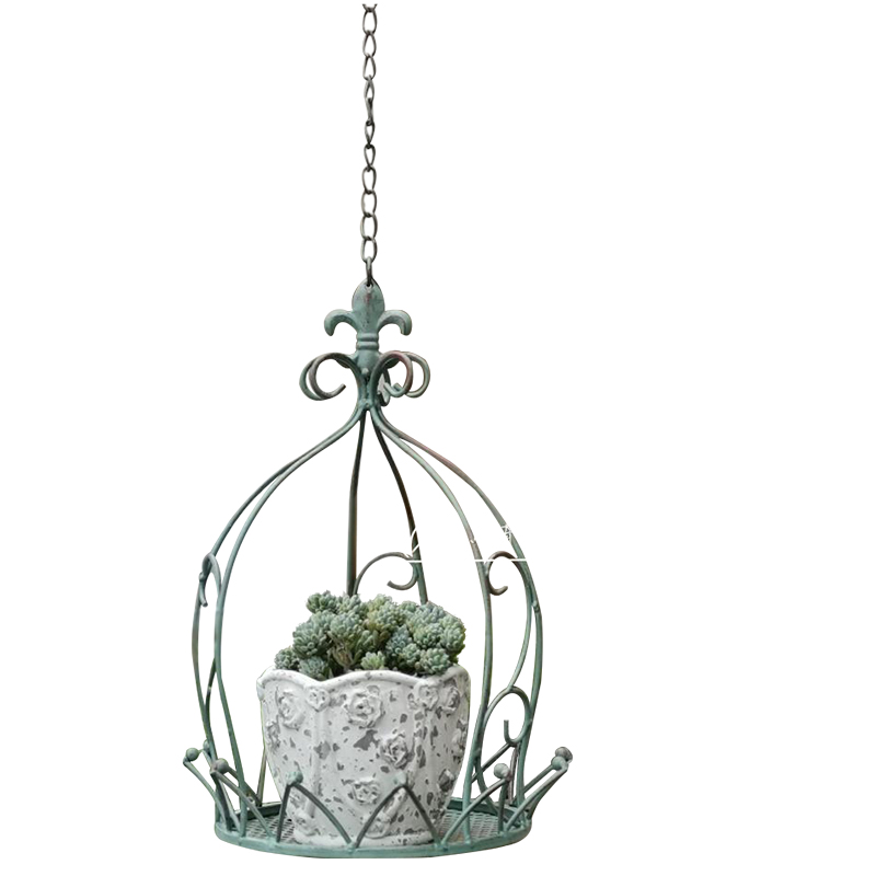American Country Wrought Iron Hanging Crown Hanging Basket Courtyard Garden Balcony Space Level Decoration Hanging Pot Flower St