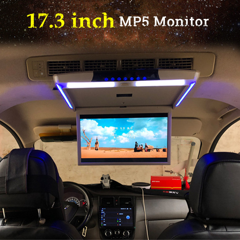 17.3 Inch Car Monitor Ceiling Mount Roof MP5 Player HD 1080P Video Touch Screen HDMI/USB/SD/FM/Speaker Thin Roof Monitor