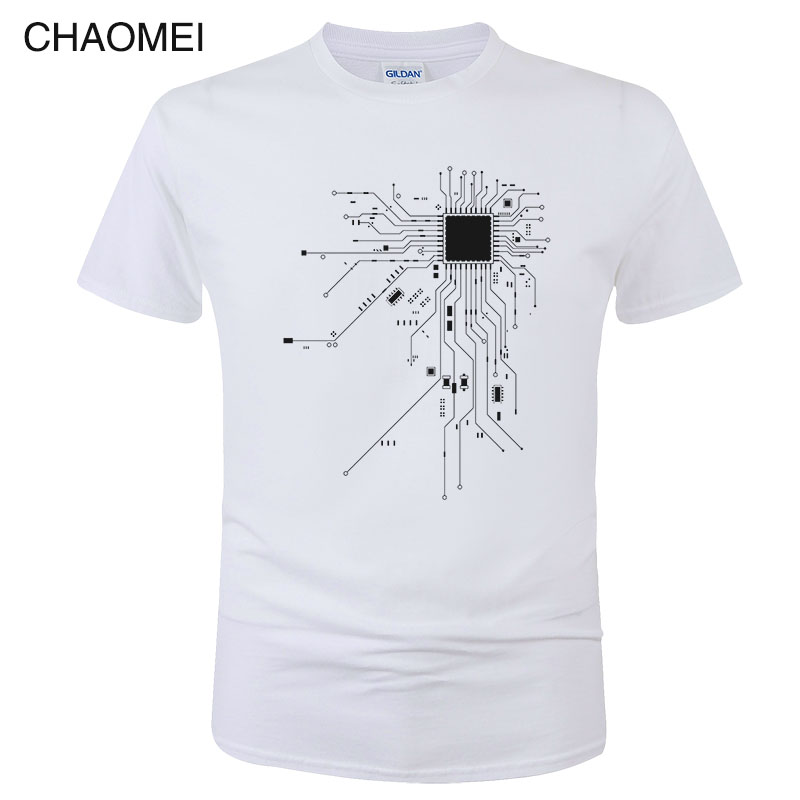 CPU Processor Circuit Diagram T Shirt Men Summer Cotton T-shirt Men's Funny Tops Fashion Tees Homme Brand Unisex Clothes C99