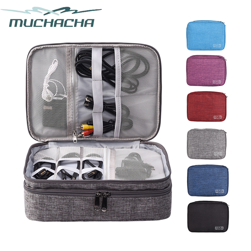MUCHACHA Travel Digital Storage Bag Portable Electronic Accessories Cable Bag Power Charger Pouch Zipper Box Case USB Cable Bag