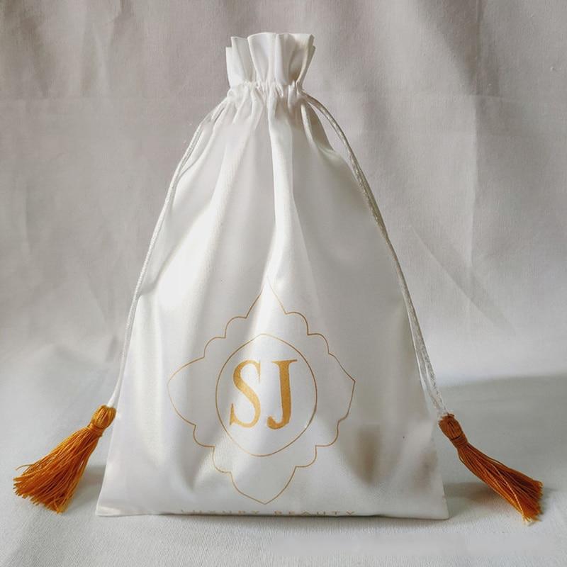 Luxury Jewelry Satin Bag Tassel Silk Drawstring Bags For Hair Makeup/Cosmetic/ Gift Box Packaging Pouches Custom Print Logo