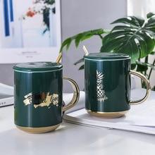 Green Luxury Modern Beautiful Ceramic Mug with Lid Spoon Tea Milk Coffee Cup Home Office Drinkware Waterware