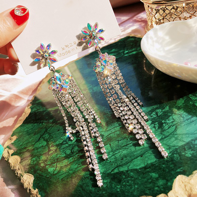 EARS HIGH Korean New Luxury Flower Crystal Drop Earrings For Women Elegant Rhinestone Tassel Long Pendientes Party Jewelry