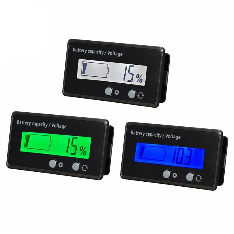 12V 6-63V LCD Car Lead Acid Lead Lithium Battery Charge Level Capacity Indicator Meter  Digital LED Tester Voltmeter Display