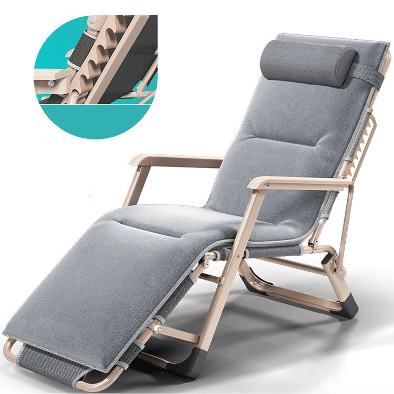 M8 New Outdoor Or Indoor Adjustable Nap Recliner Chair Folding Deck Chair Beach Chair With Steel Pipe Frame Moisture Absorption