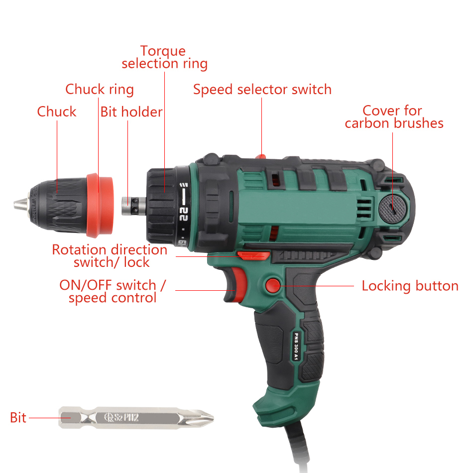 Tools : 300W Power Tool Corded Electric Power Drill Screwdriver Energy Drill with 10mm Quick-Release Chuck Max Torque 40Nm 5m Cord Acc