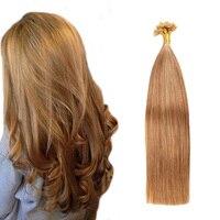 Gazfairy U Tip Hair Straight Keratin Capsules Human Fusion Remy Hair Nail U Tip Pre Bonded Hair Extensions 22 Inch 1g/s 50 100g