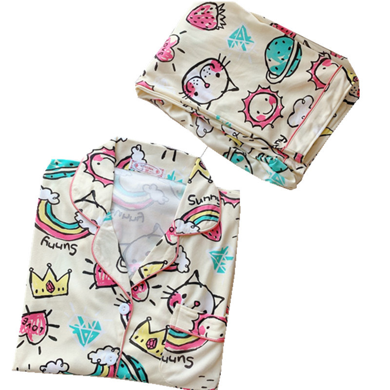 Image 3 - 2020 Women Pajamas Sets with Pants Long Sleeve Turn down Collar Pyjama Print Cute Cartoon Button Top+Pants Pijama Soft HomewearPajama Sets   -