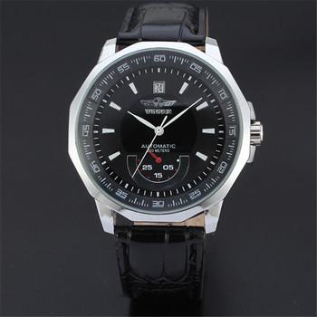 Moda męska zegarki 2020 Top marka automatyczne zegarki męskie Auto data mechaniczne zegarki skórzane zegarki Automatico zegar AA tanie i dobre opinie WOONUN Nie wodoodporne Klamra Moda casual Automatyczne self-wiatr 24cm STAINLESS STEEL Kompletna kalendarz ROUND 20mm