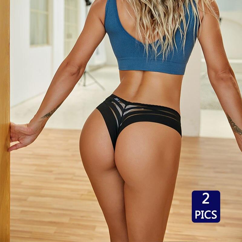 2 Pics Neue frauen Spitze Sexy Mode Multicolor Niedrigen Taille M-XL Tanga Sommer Dessous Mesh Unterwäsche Weibliche Licht Weichen höschen