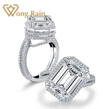 Wong Rain 100% 925 Sterling Silver Created Moissanite Gemstone Diamonds Wedding Engagement Irregular Ring Fine Jewelry Wholesale