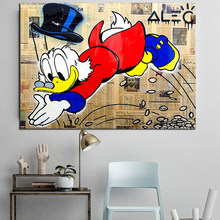 Partner Love Alec Monopolyingly Scrooges Mcduckes Poster Painting on Canvas Bedroom Baby Room Wall Art Decoration Pictures Deco(China)