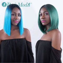 цена на Synthetic Wig for Black Women PerisModa Short Bob Lace Front Blue/Green Cheap Wig Heat Resistant Synthetic Lace Front Ombre Wigs