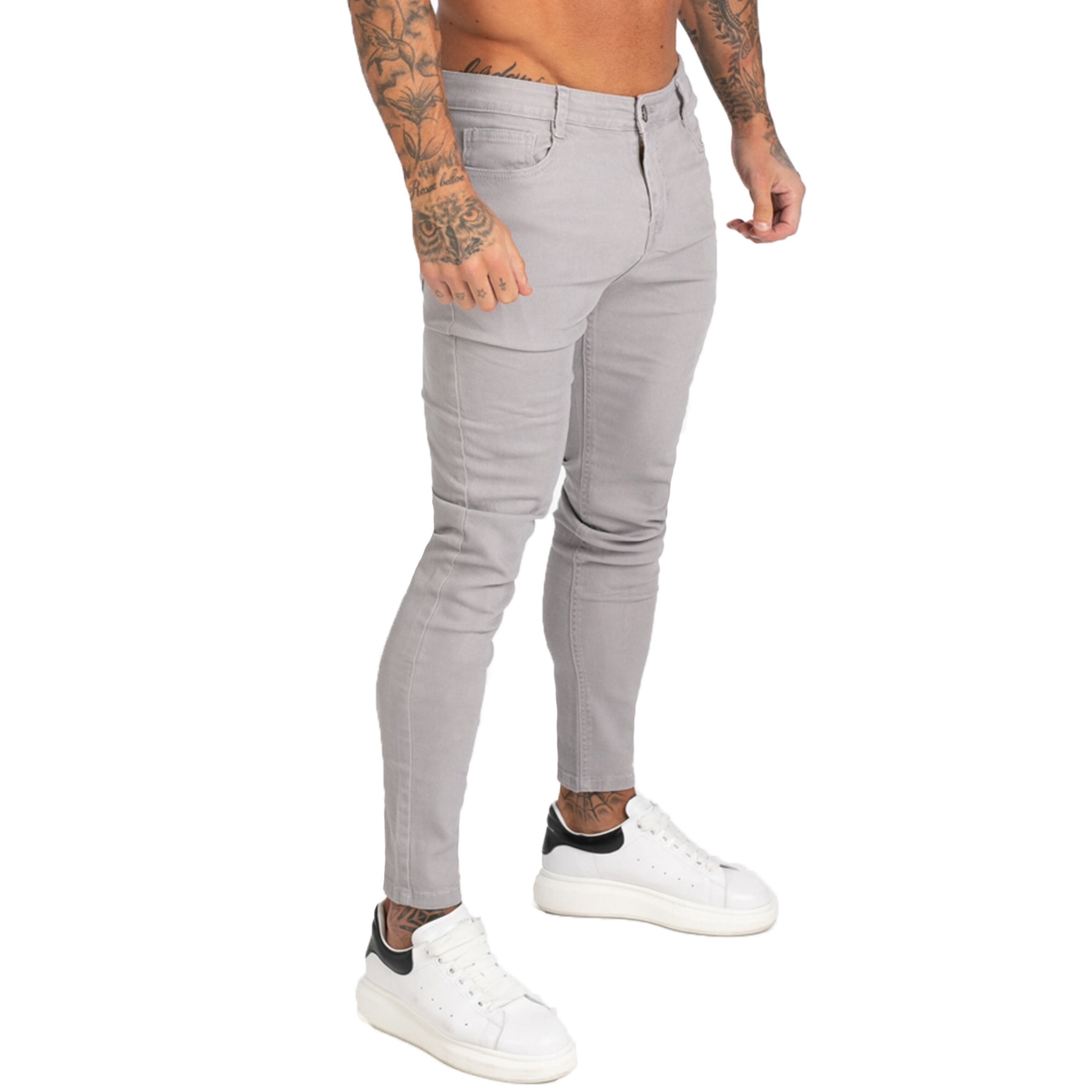 GINGTTO Denim Pants Men Skinny Slim Fit Grey Jeans For Men Hip Hop Ankle Tight Cut Closely To Body Big Size Stretch Zm175