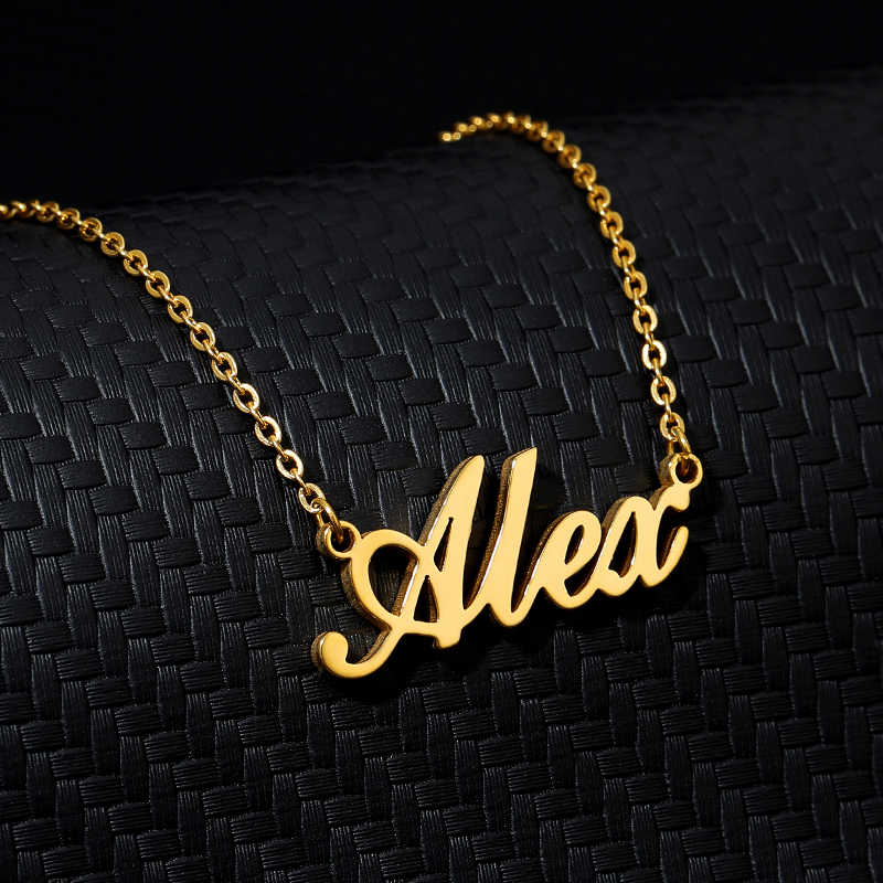 Colar de nome personalizado do bebê colar & pingentes corrente de ouro menina menino colar de nome personalizado colar de chá de fraldas mínimo presente maxi colar colar