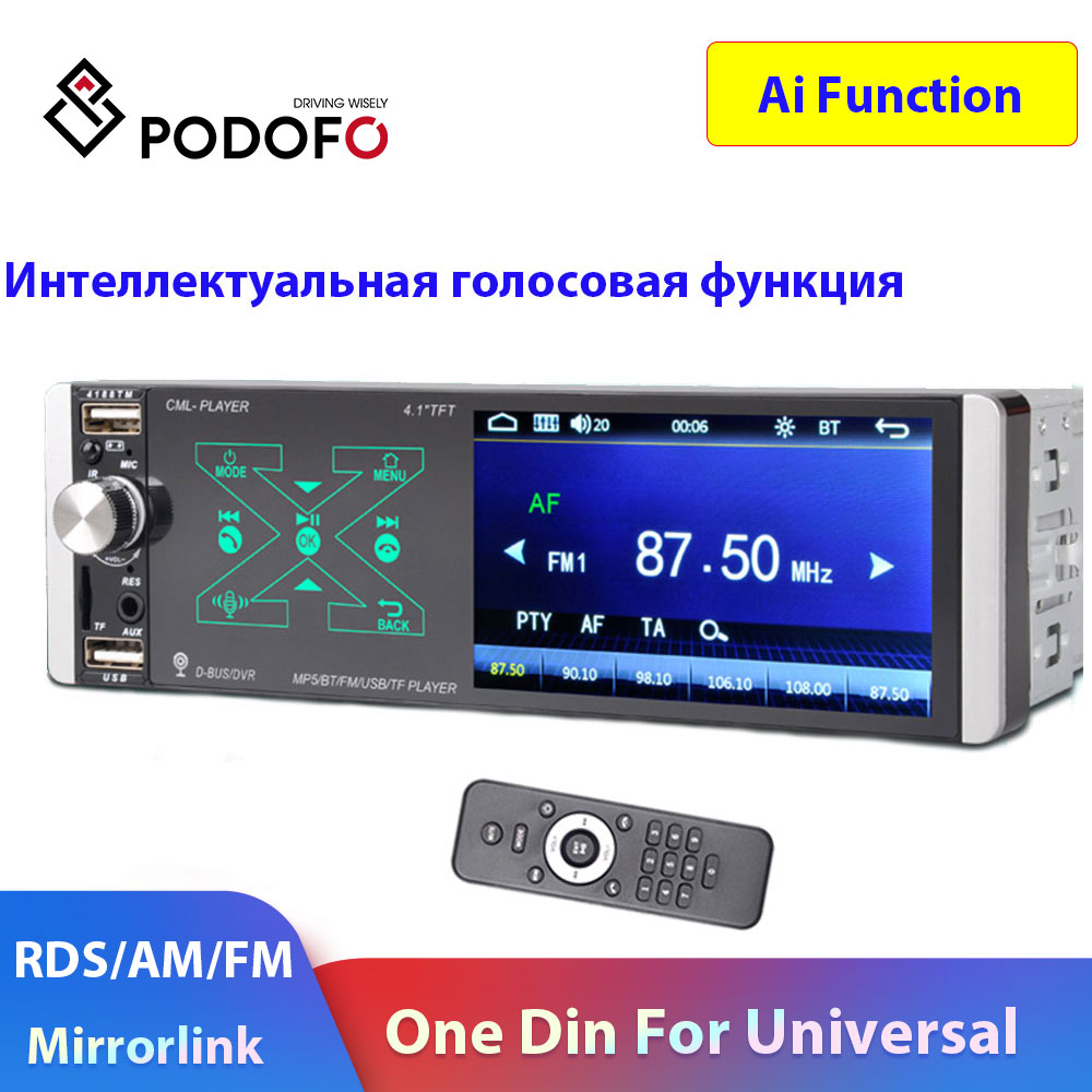 Podofo One Din Car Radio Ai Function ISO/Android MirrorLink 1 Din Car Multimedia Player RDS/AM Autoradio For Universal Car Radio