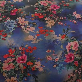 Peony autumn moon satin/Pearl satin cloud fabric printing mulberry scoped silk