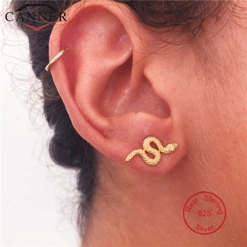 925 Sterling Silver Punk Snake Stud Earrings for Women Simple Gold Silver color Studs Female Fashion.jpg 350x350 - 925 Sterling Silver Punk Snake Stud Earrings for Women Simple Gold Silver color Studs Female Fashion Minimalist Jewelry
