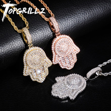 TOPGRILLZ New Hand Pendant Necklace With Tennis Chain Cuban chain Gold Silver Color Iced Out Cubic Zircon Hip Hop Rock Jewelry
