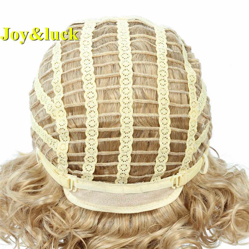 Joy & Keberuntungan Ombre Blonde Wig Sintetis Wig Alami Air Gelombang Coklat Campuran Pirang Wig untuk Medium Wanita Panjang Penuh wig dengan Poni