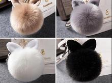 Ant  Plush Keychain Bangtan Cartoon Cute rabbit ear ball bag plush car key ring hanging fur pendant