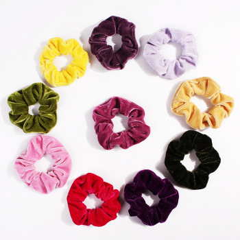 Flannel Velvet Candy Color Hair Scrunchie Elastic Hair Bands Women Girls Headwear Ponytail Holder Hair Accessories Wholesale image
