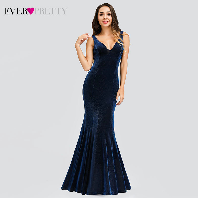 Sexy Navy Blue Evening Dresses Ever Pretty Double V-Neck Sleeveless Draped Velour Mermaid Formal Party Gowns Abendkleider 2020