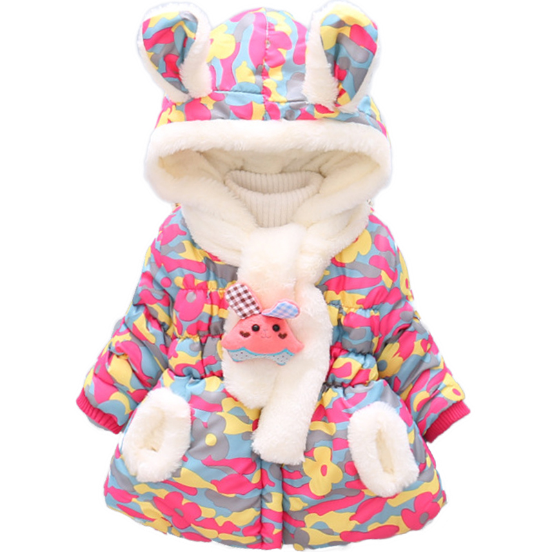 Bibihou Winter Cute Rabbit Baby Jacket Thick Cotton-Padded Baby Girl Outerwear Infant Baby Boys Parka Toddler Girls Snow Wear 2