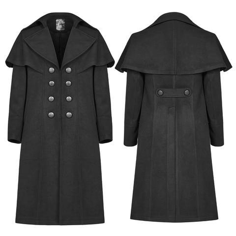 PUNK RAVE Mens Gothic Dark Cloth Shoulder Cloak Detective Mystery Simple Coat Club Stage Performance Fall Winter Mens Jackets Multan