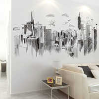 [SHIJUEHEZI] Black Buildings Wall Stickers DIY Architecture Mural Decals for House Living Room Bedroom Office Decoration