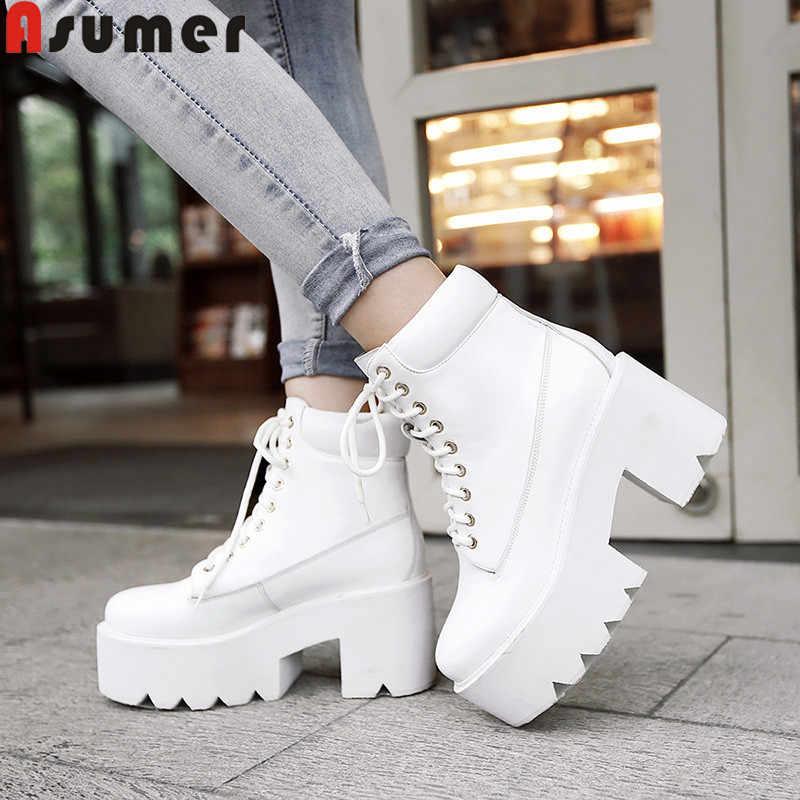 Asumer boyutu 34-40 hakiki deri çizmeler yuvarlak ayak lace up bayanlar yarım çizmeler yuvarlak ayak klasik sonbahar kış platformu çizmeler