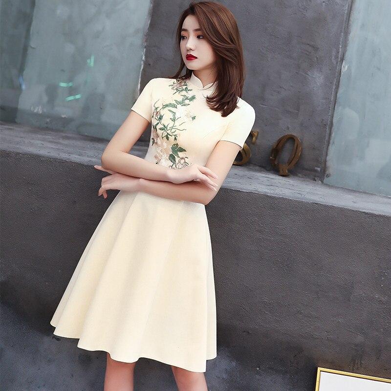 2020 Chinese Dress Improve Cheongsam Dress Elegnat Vintage Floral Print Bodycon Retro Chinese Qipao Party Dress Qipao