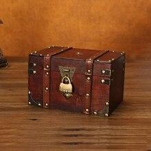 Cofre del Tesoro Retro con cerradura caja de almacenamiento de madera Vintage organizador de joyería de estilo antiguo para armario caja de joyería baratija caja-L